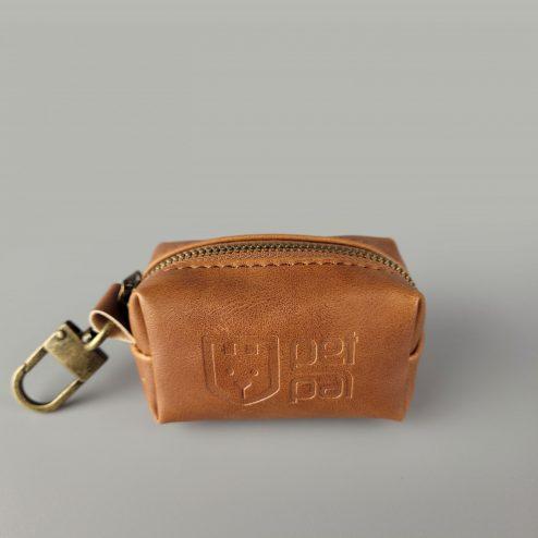 Poop bag holder vintage brown